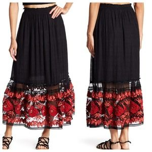 FREE PEOPLE $350 Red Floral Lace Embroidered Skirt